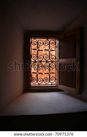 decorated window in morocco - stock photo
