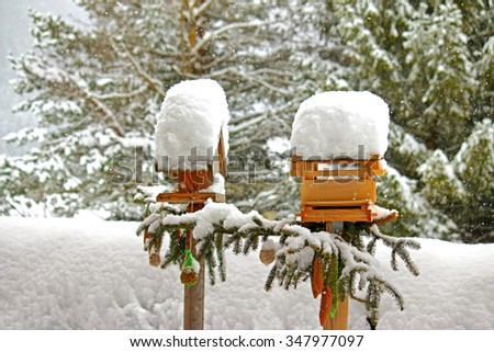Decorated wooden bird feeders with meshed bags full of nuts hanging and snow covering its roof during the Winter in Europe - stock photo