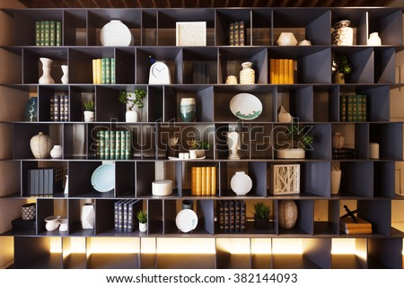 decoration and furniture in modern living room - stock photo