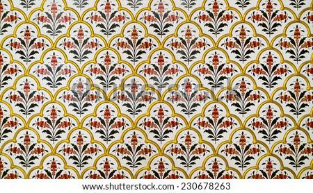 Decoration detail in Junagarh Fort, Bikaner, Rajasthan, India - stock photo