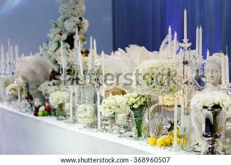 decoration for wedding or another catered event dinner. - stock photo