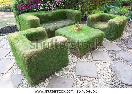 Decoration garden with grass sofa in the park,Bangkok,Thailand - stock photo