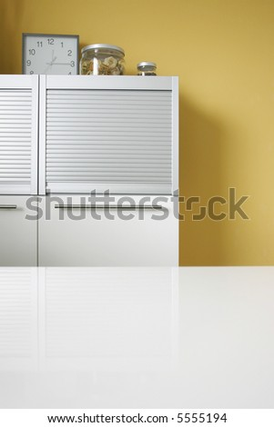 Decoration in modern white kitchen - stock photo