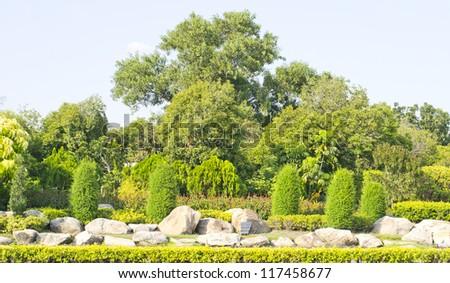 decoration in the park, beautiful rock garden - stock photo