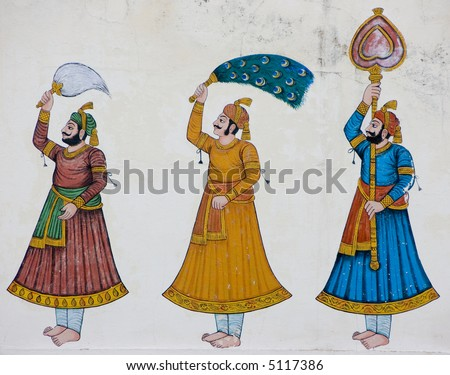 Decoration inside a temple of rajasthan, india - stock photo