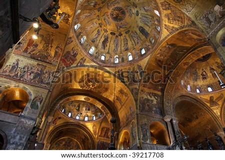Decoration inside church in Venice - stock photo