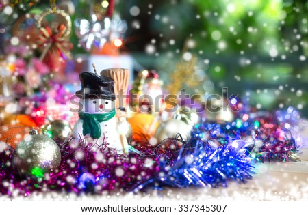 Decoration merry christmas and happy new year on snow fall night / select focus - stock photo
