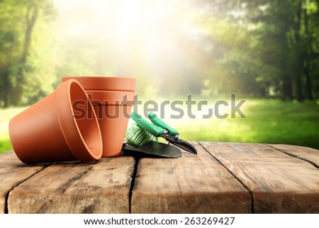 decoration of pots on wooden table  - stock photo