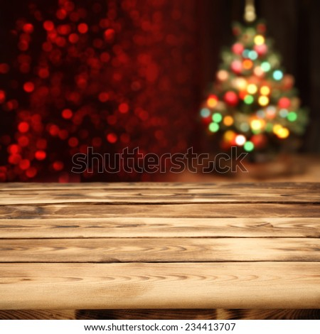 decoration of xmas tree and rustic tree  - stock photo