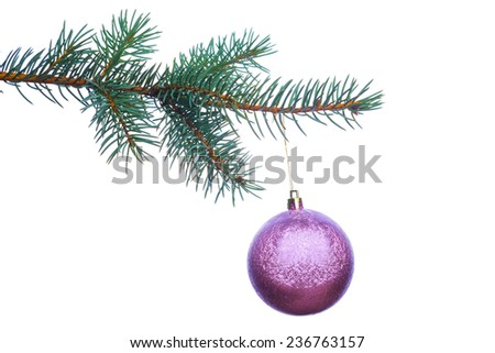 Decoration on Christmas tree branch isolated on white background - stock photo