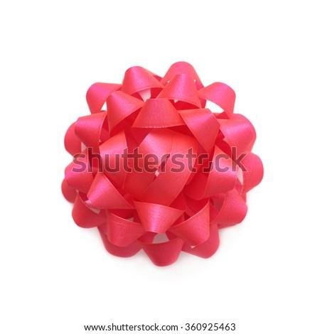 Decorational ribbon gift bow isolated - stock photo