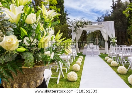 Decorations for the wedding ceremony. Flowers closeup. - stock photo