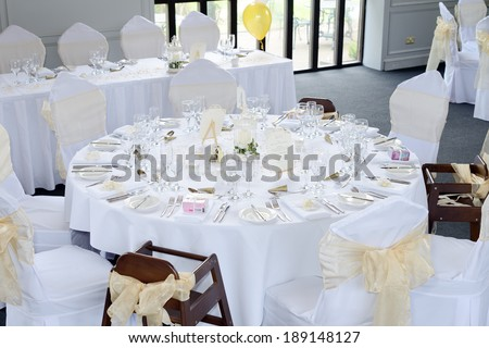 Decorations on table at wedding reception looking expensive - stock photo
