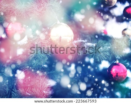 decorations on the Christmas tree, Christmas background - stock photo