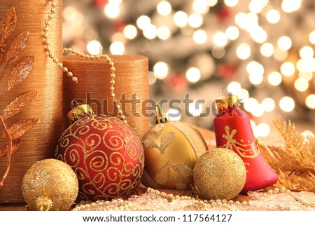 Decorations with Christmas ornaments with lights - stock photo