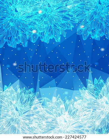 decorative abstract background with flowers on a blue background with the ticking - stock photo