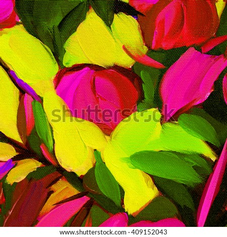 decorative abstract oil painting on canvas, illustration, pattern; template - stock photo