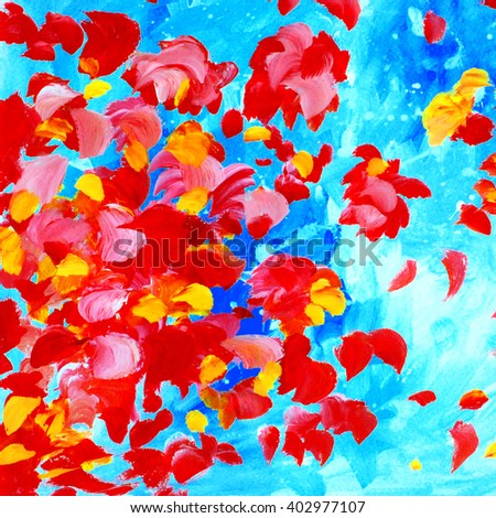decorative abstract watercolor painting for interior, illustration - stock photo