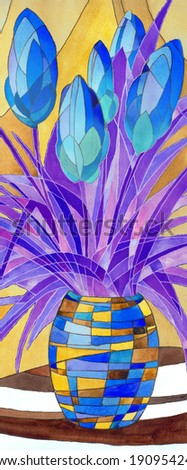 Decorative acrylic painting. Abstract vivid turquoise flowers in motley vase with geometric pattern on warm yellow background - stock photo
