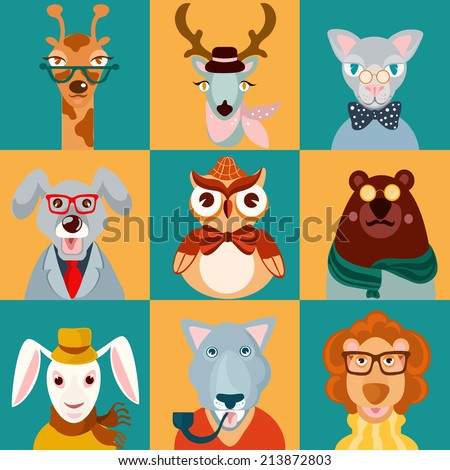 Decorative animal hipsters icons set cat bear owl lion isolated  illustration - stock photo