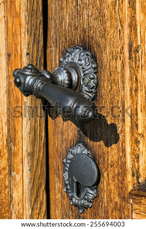 Decorative antique door handle - stock photo