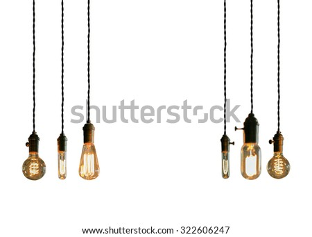 Decorative antique edison style filament light bulbs - stock photo