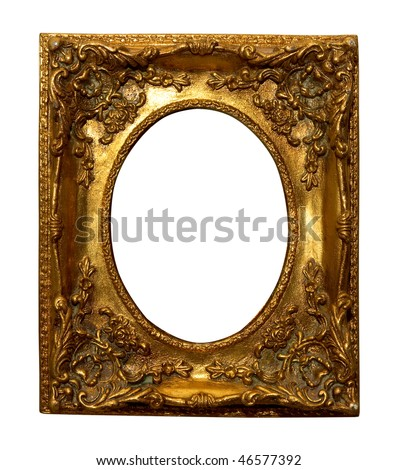 Decorative antique frame with oval cut isolated over white - stock photo