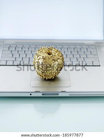 Decorative Apple on Laptop - stock photo