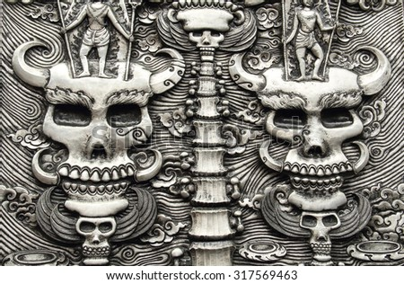 Decorative Art of Lanna Thai. Engraving of the silver value in temple,Thailand. - stock photo
