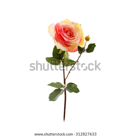 Decorative artificial rose isolated on a white - stock photo
