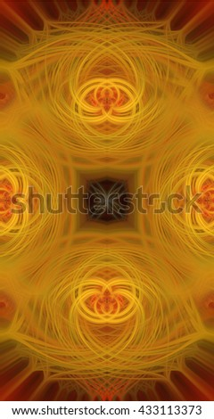 Decorative artistic piece layered abstract art rose flowers floral mustard yellow gold brick red  black twirl twist spinning combination  pattern design unique interesting impressive  - stock photo