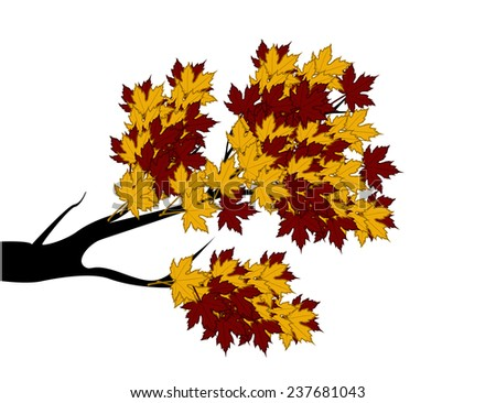 Decorative Autumn Branch Tree Silhouette With Brown Leaves - stock photo
