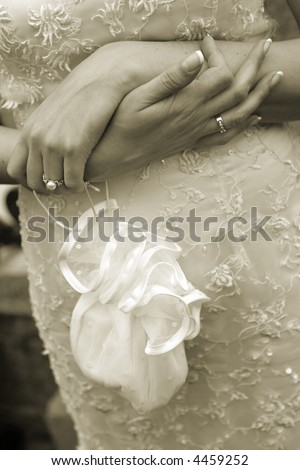 Decorative bag in hands of the bride - stock photo