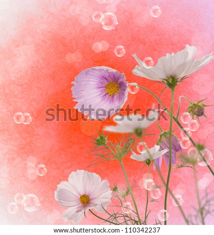 Decorative beautiful pink flower over abstract background - stock photo