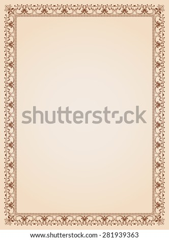 Decorative border frame background certificate template 4 - stock photo
