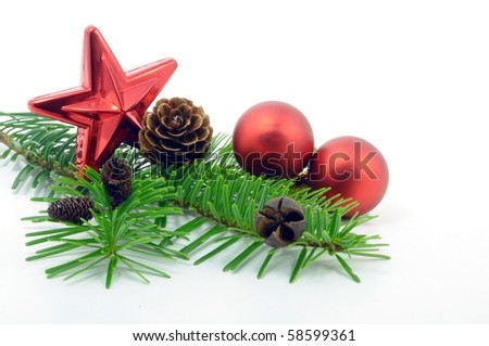decorative branch with christmas balls isolated on white background - stock photo