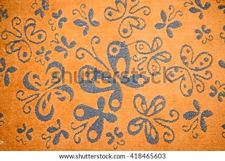 Decorative butterfly doormat - stock photo
