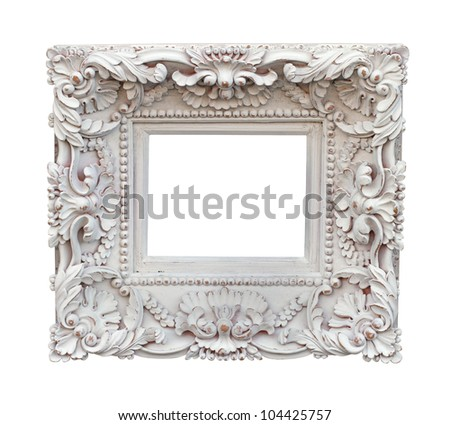 Decorative carved white frame isolated with clipping path included - stock photo