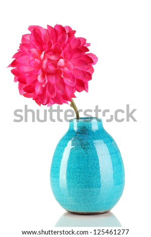 Decorative ceramic vase with pink flower isolated on white - stock photo