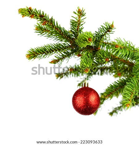 Decorative christmas ball on fir branch isolated on white background - stock photo