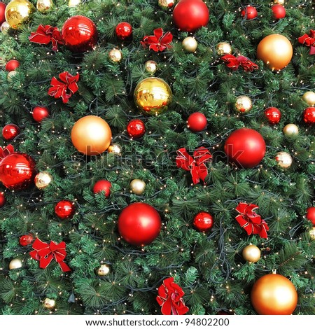 Decorative Christmas balls and Christmas tree - stock photo