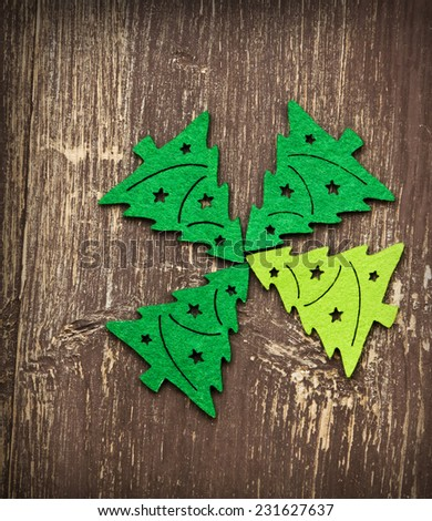 Decorative Christmas Trees on Wooden Background, Christmas Decoration - stock photo
