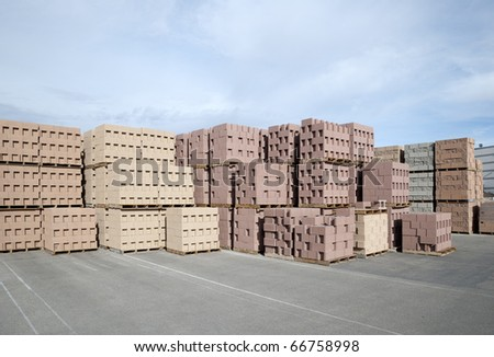 Decorative cinderblocks waiting for delivery - stock photo