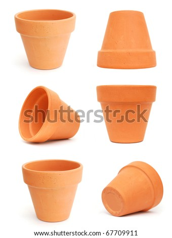 Decorative clay flower pots - stock photo