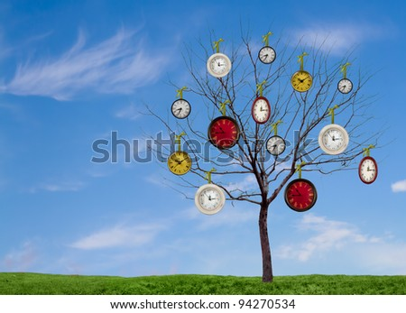 Decorative clocks hanging from a bare tree on a grassy hill with a blue sky as a background - stock photo