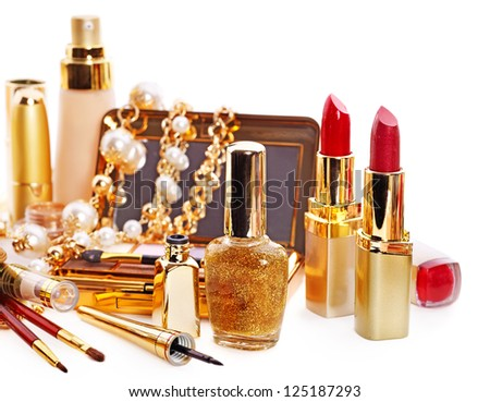 Decorative cosmetics for makeup. Isolated. - stock photo