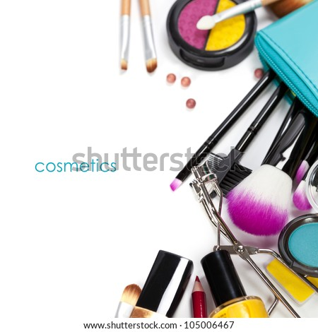 Decorative cosmetics isolated over white - stock photo