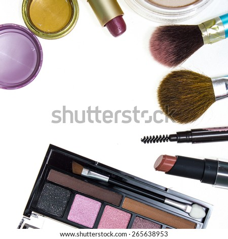 Decorative cosmetics isolated over white background. make up supplies - stock photo