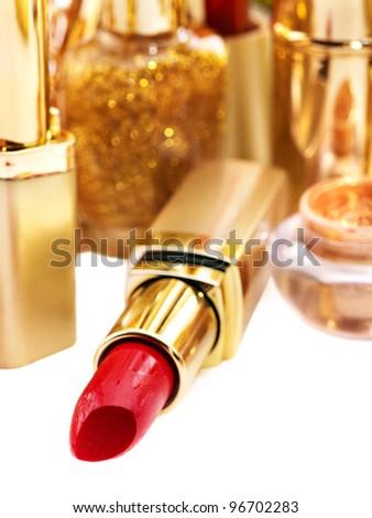 Decorative cosmetics with red lipstick. - stock photo