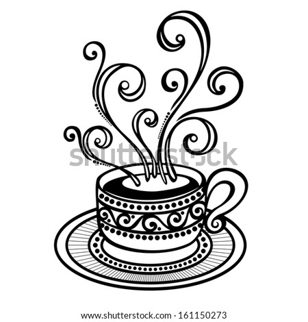 Decorative Cup of Coffee with Steam - stock photo